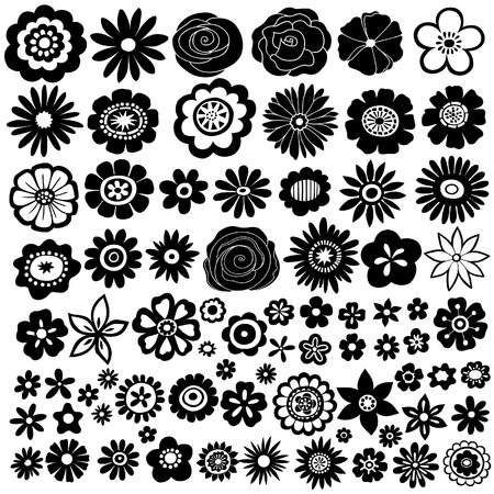 Flower Silhouette Vector Illustration Set
