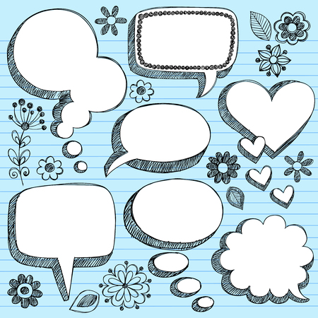 Hand-Drawn Sketchy 3-D Shaped Comic Book Style Speech Bubbles- Notebook Doodles on Blue Lined Paper Background - Illustration