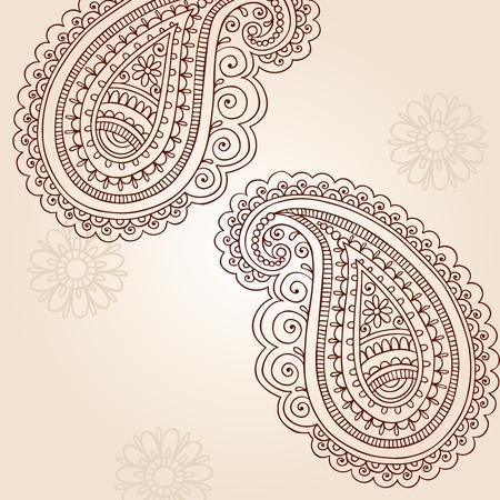 Henna Mehndi Paisley Hand-Drawn Abstract Doodle Vector Illustration Design Elements