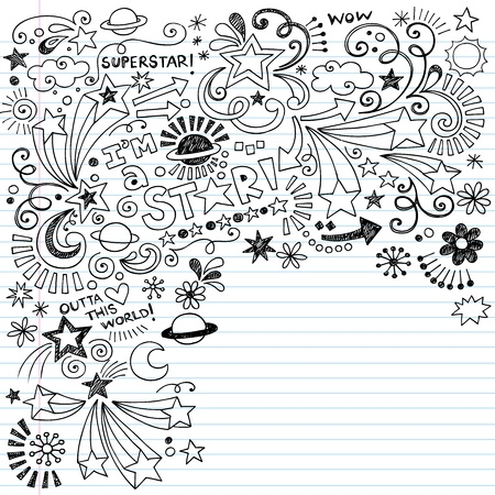 Hand-Drawn Superstar Scribble Inky Doodles- Back to School Notebook Doodle Design Elements on Lined Sketchbook Paper Vector Illustration