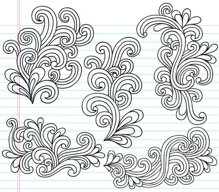 Notebook Doodle Swirly Vector Illustration Design Elements