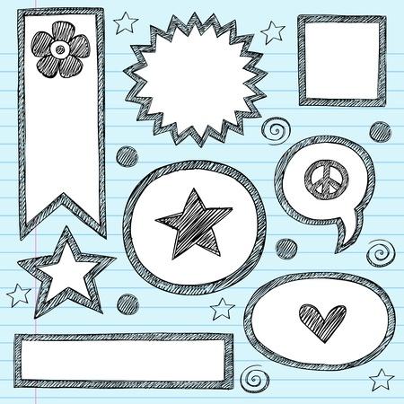Sketchy School Shape Frames and Speech Bubbles Hand-Drawn Notebook Doodles Set.