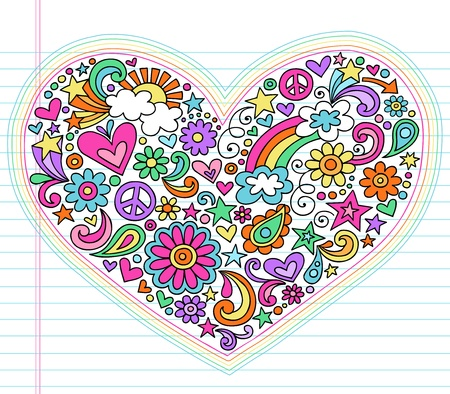 Valentine s Day Love Heart Groovy Psychedelic Hand Drawn Notebook Doodle Design Elements Set on Lined Sketchbook Paper Background- Vector Illustrationのイラスト素材