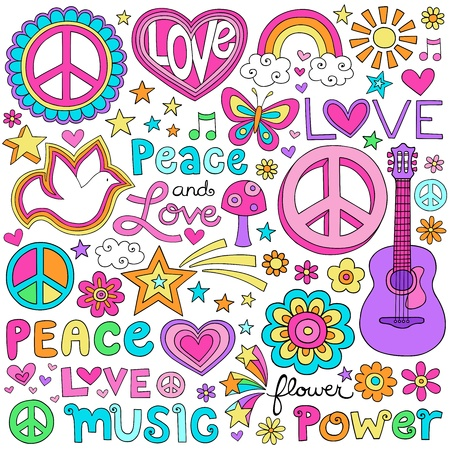 Peace and Love Flower Power Groovy Psychedelic Notebook Doodles Set