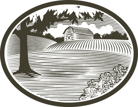 Woodcut style illustration of a rural barn scene.