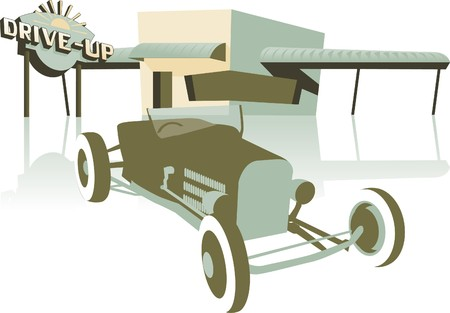 Retro looking illustration of a hot rod sitting in front of a drive up.
