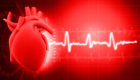 Photo pour Human heart on science  background  - image libre de droit