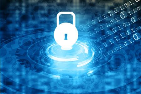 Photo pour Internet Security concept, computer network with pad lock - image libre de droit