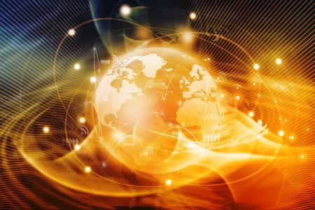 Foto de Futuristic background of Global business network, internet, Globalization concept - Imagen libre de derechos