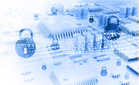 Photo pour Cyber security concept, circuit board with Closed Padlock - image libre de droit
