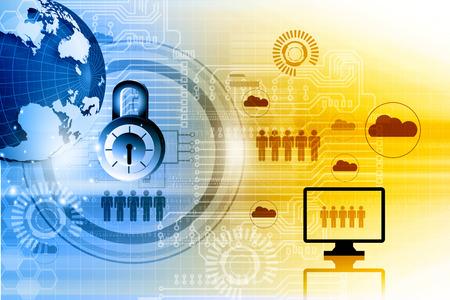 Photo pour Internet security. Pad lock on digital tech background - image libre de droit