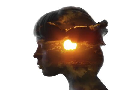 Photo pour Double exposure bright portrait of girl and sun isolated on white - image libre de droit