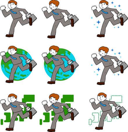 Illustration pour This is a rough sketch of a businessman who travels. - image libre de droit