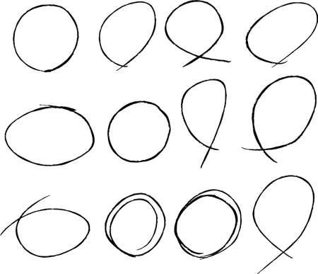 Ilustración de This is a illustration of Variations of thin circles for handwritten scoring - Imagen libre de derechos