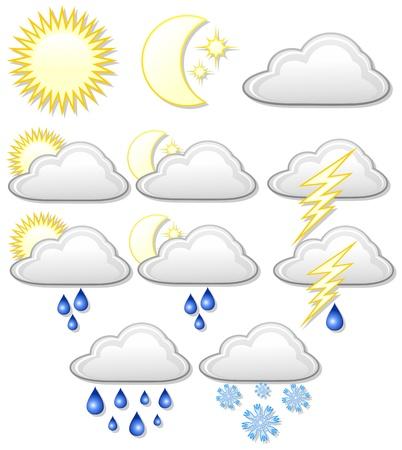 Illustration for Weather Icons Symbols - Royalty Free Image