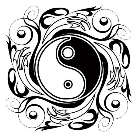 Yin & Yang Ornamental Tattoo Symbol