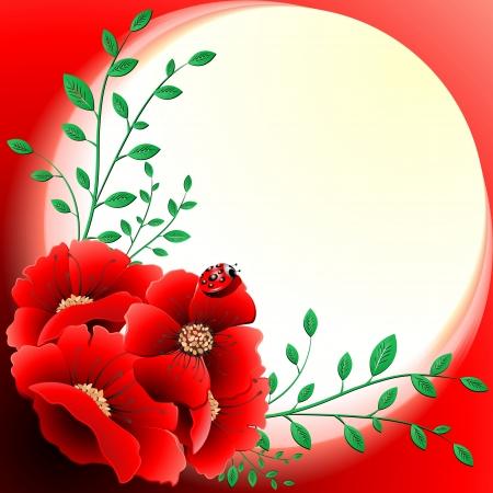 Ilustración de Spring Poppies Floral Greeting Card - Imagen libre de derechos