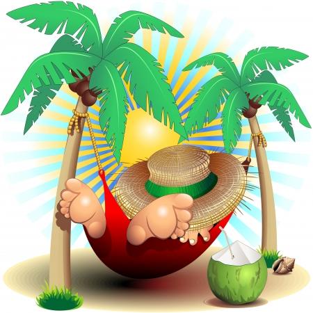 Relax Exotic Summer Holidays on Hammock Clip Art