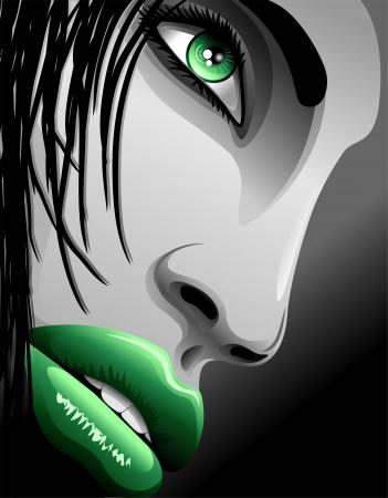 Beautiful Green Eyes Girl s Portrait