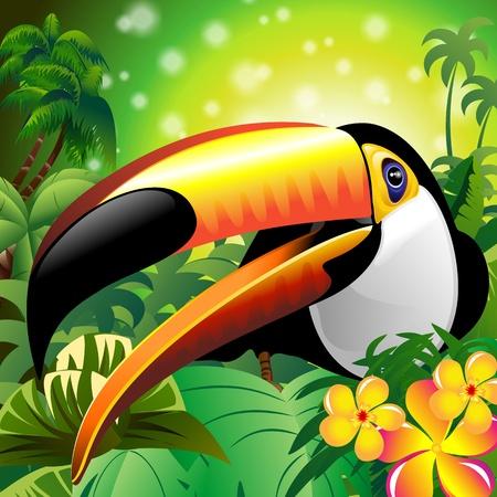 Toucan Close Up Art Design on Tropical Jungle