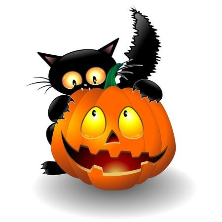 Ilustración de Halloween Cat Cartoon biting a Pumpkin - Imagen libre de derechos