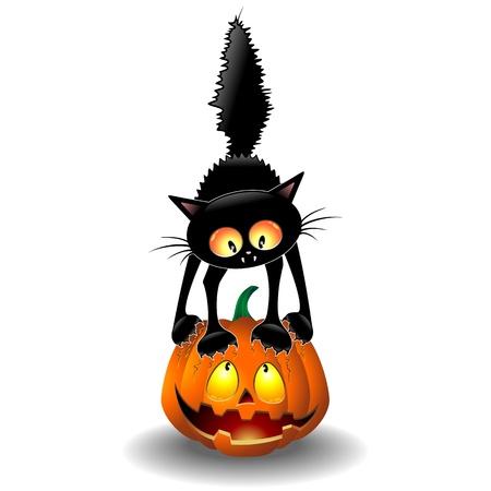 Illustration pour Scared Halloween Cat Cartoon scratching a Pumpkin - image libre de droit
