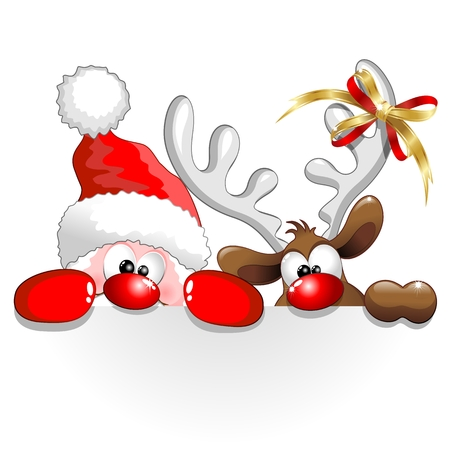 Illustration for Funny Christmas Santa and Reindeer Cartoon - Royalty Free Image