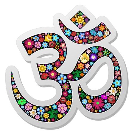 Om Aum Namaste Yoga Symbol Floral Sticker