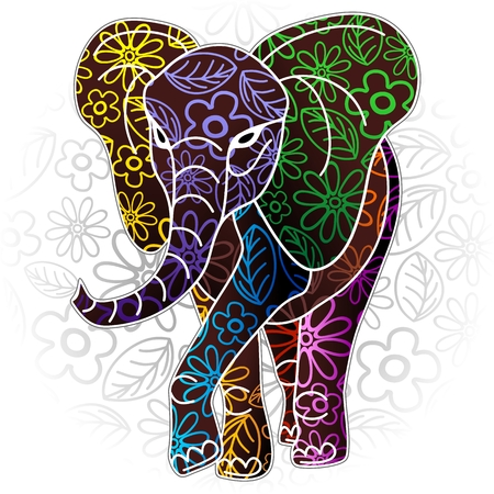 Elephant Floral Batik Art Design
