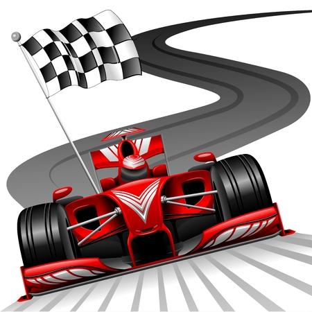 Illustration for Formula 1 Red Car on Race Track - Royalty Free Image