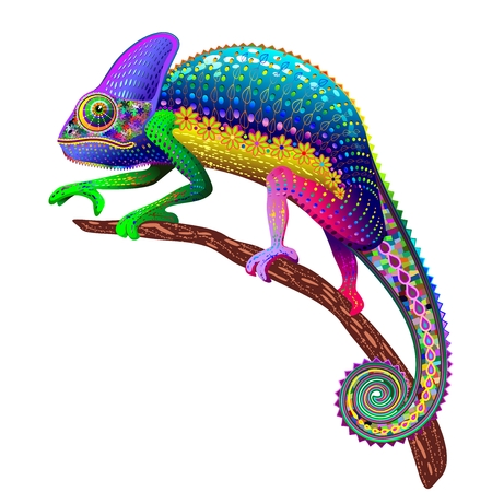 Illustration for Chameleon Fantasy Rainbow Colors - Royalty Free Image