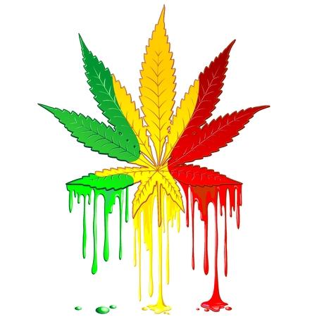 Illustration pour Marijuana Leaf Rasta Colors Dripping Paint - image libre de droit