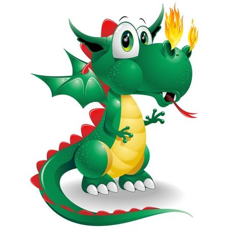 Illustration pour Baby Dragon Cute Cartoon - image libre de droit