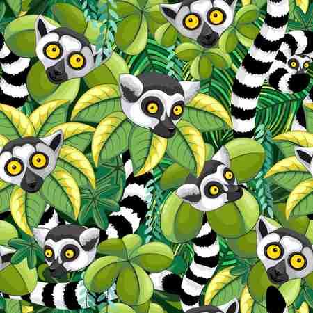 Illustration pour Lemurs of Madagascar in Exotic Jungle Seamless Pattern Vector Textile Design - image libre de droit