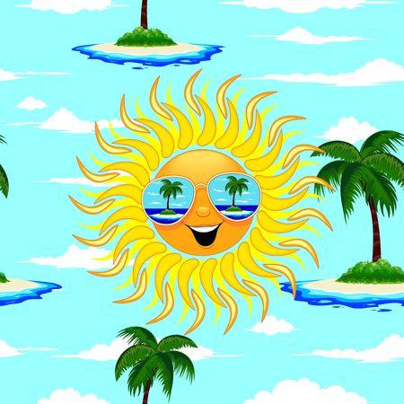 Illustration pour Summer Sun Cartoon with Sunglasses Beach Reflections Seamless Pattern Vector Illustration - image libre de droit