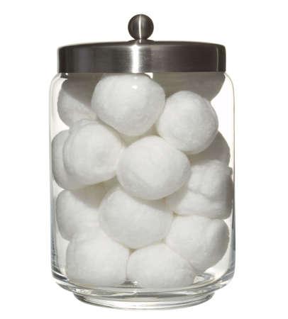 cotton balls in a pot
