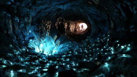 Foto de Mysterious blue crystal cave, stimulating adventure concept - Imagen libre de derechos