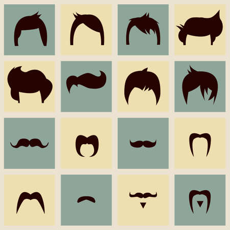 Collection of hipster vintage hair styles and mustache, vector illustration