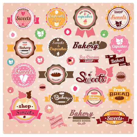 Collection of vintage retro ice cream and bakery labels, stickers, badges and ribbons, vector illustration