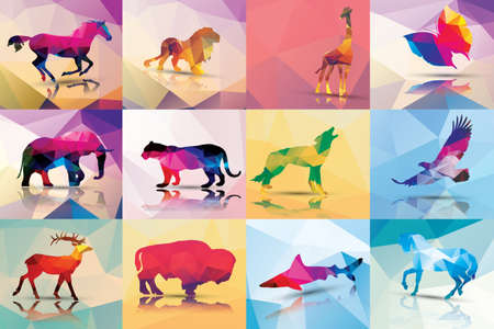 Photo pour Collection of geometric polygon animals - image libre de droit