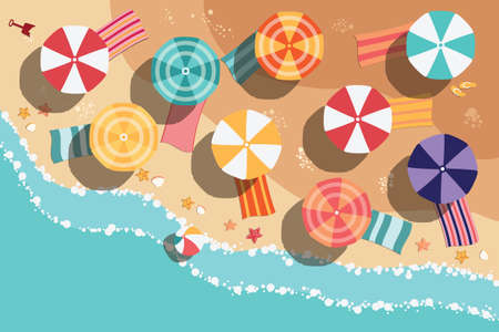 Illustration pour Summer beach in flat design, aerial view, sea side and umbrellas, vector illustration - image libre de droit