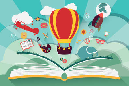 Illustration for Imagination concept - open book with air balloon, rocket and airplane flying out - Royalty Free Image