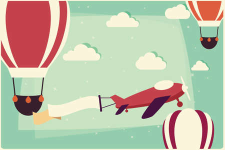 Illustration pour Background with hot air balloons and airplane with ribbon, vector illustration - image libre de droit