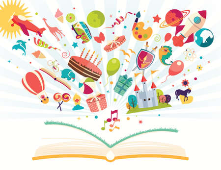 Illustration pour Imagination concept - open book with air balloon, rocket, airplane flying out, vector illustration - image libre de droit
