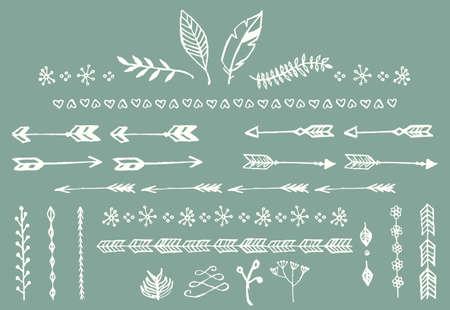 Illustration pour Hand drawn vintage arrows, feathers, dividers and floral elements, vector illustration - image libre de droit