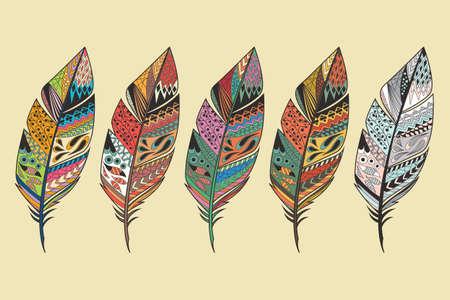 Illustration pour Collection of vintage tribal ethnic hand drawn colorful feathers, vector illustration - image libre de droit
