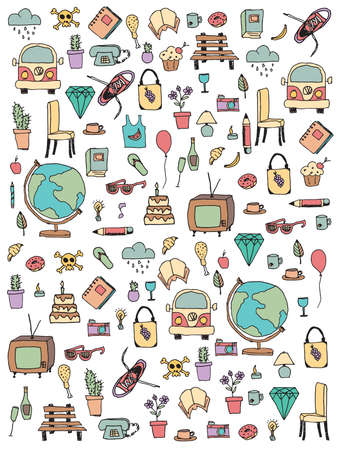 Everyday things, handdrawn, vector illustration