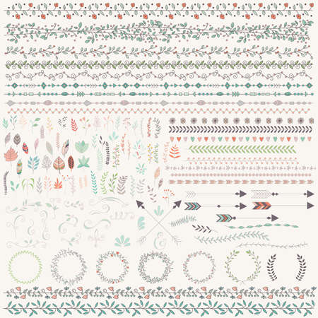 Illustration pour Hand drawn vintage leaves, arrows, feathers, wreaths, dividers, ornaments and floral decorative elements, vector illustration - image libre de droit