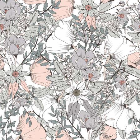 Illustration pour Seamless pattern design with hand drawn flowers and floral elements, vector illustration - image libre de droit