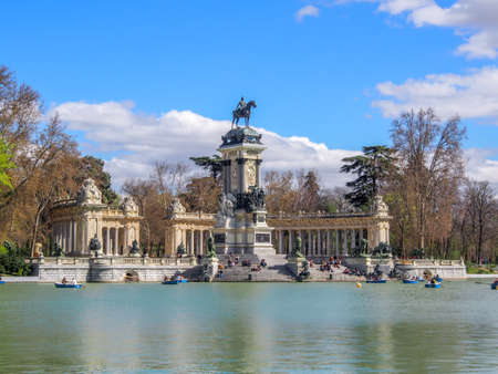 The historic Monument to Alfonso XII in Retiro Park, Madrid, Spain
